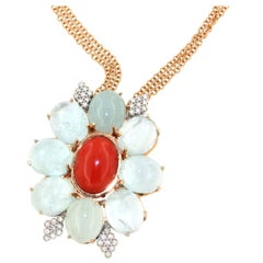18Kt Rose Gold with Aquamarine White Diamonds Red Coral Pendant