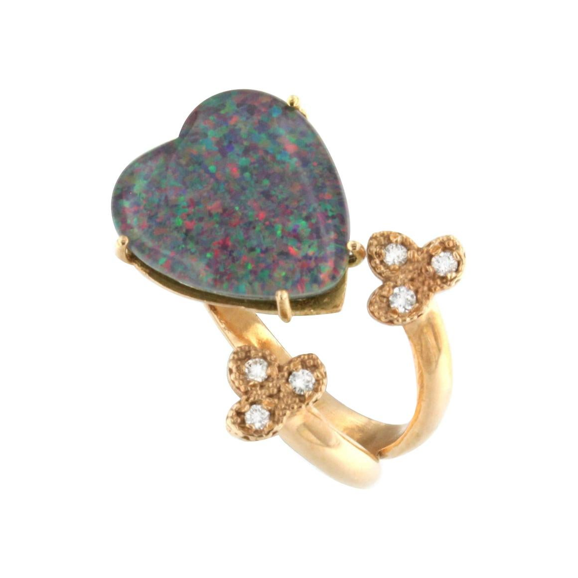 18kt Rose Gold with Black Opal and White Diamonds Ring