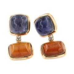 18Kt Rose Gold with Iolite Garnet Essonite White Diamonds Earrings