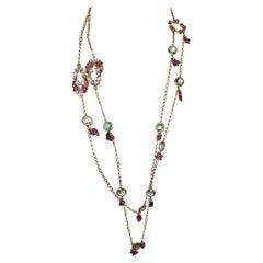 18kt Rose Gold with Pink Tourmaline Prasiolite Quartz White Diamonds Necklace