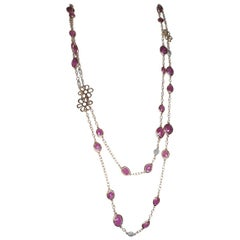 18kt Rose Gold with Red Ruby and White Diamonds Necklace