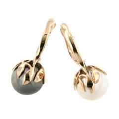 18Kt Rose Gold with Tahiti Pearl and White Pearl Earrings
