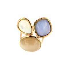 18kt Rose Gold with White and Blue Mother Pearl and Moonstone Ring