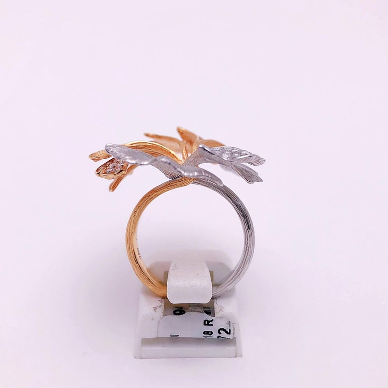 Contemporary 18 Karat Rose and White Gold Ginko Leaf Ring with .90 Carat Diamonds For Sale