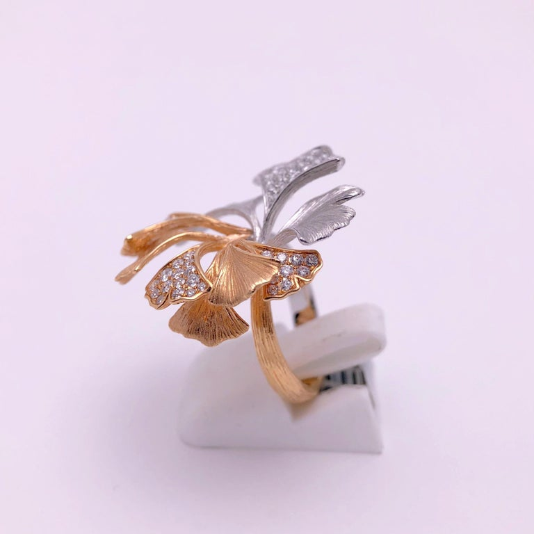 Round Cut 18 Karat Rose and White Gold Ginko Leaf Ring with .90 Carat Diamonds For Sale