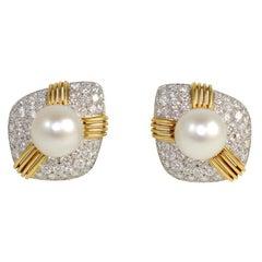 18kt South Sea Pearl & Diamond Earings