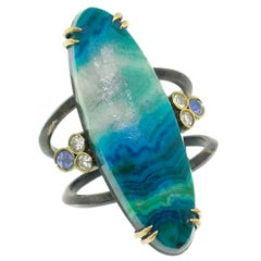 18kt & Sterling Shield Ring with Malchite & Chrysocolla, Sapphires and Diamonds