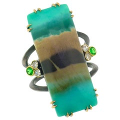 18kt & Sterling Shield Ring with Opalized Fossil Wood with Emeralds and Diamonds