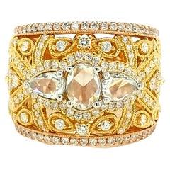 18Kt Tri Color Gold 1.96 Carat Round Brilliant & Rose Cut Diamond Cocktail Ring