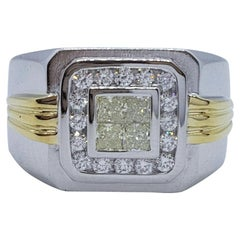18kt Two-Tone Gold Invisible Diamond Mens Ring, .75cttw