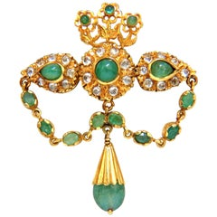 18KT Vintage Natural Emeralds & White Sapphires Medallion Dangle Brooch Pin
