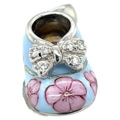 18KT WG Baby Shoe Charm 0.12Ct Diamond Light Blue and Pink Enamel with Bow