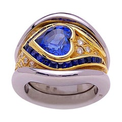 18KT WG & YG Heart Shaped 2.00 Carat Blue Sapphire Ring with .50 Carat Diamonds