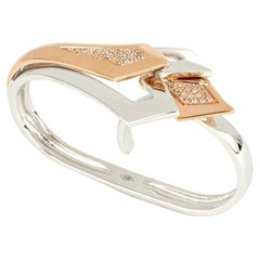 18kt White and Rose Gold 3 Chic Big Double Ring Enriched with Diamonds