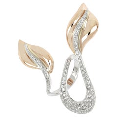18kt White and Rose Gold 3 Chic Big Leaf Ring Enriched with Diamonds Pavè