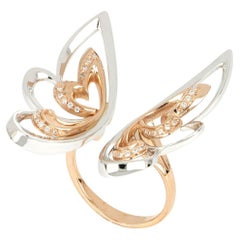 18kt White and Rose Gold 3 Chic Butterfly Ring with White Diamonds
