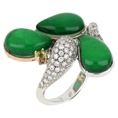 18kt White and Rose Gold Les Papillons Ring with Green Aventurine and Diamonds