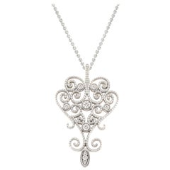 "18Kt White and Rose Gold ""Victorian Style"" Diamond Pendant with 18Kt Gold Chain"