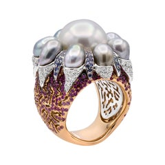 18kt White and Rose Gold, White Diamonds, Blue & Pink Sapphires, Pearls, Ring
