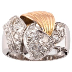 18 Karat White and Yellow Gold Diamond Retro Ring