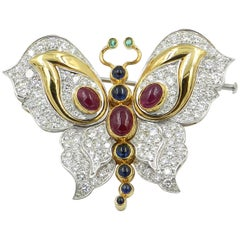 18KT White and Yellow Gold Rubies, Emeralds and blue Sapphires Butterfly Brooch