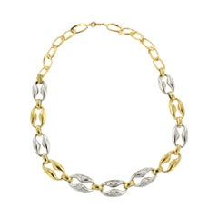 18Kt White and Yellow Gold with White Diamonds Necklace