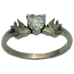 William Llewellyn Griffiths Diamond Heart & Swallows Ring