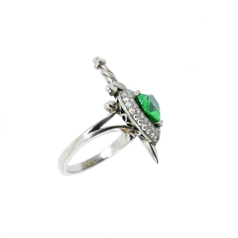 William Llewellyn Griffiths Tsavorite Garnet and Diamond Heart and Dagger  Ring