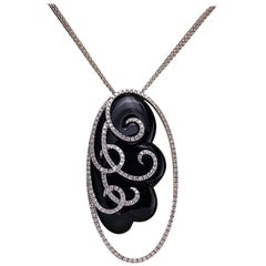 18 Karat White Gold, 2.04 Carat Diamond and Black Onyx Oval Pendant Necklace