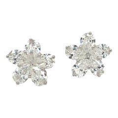 18kt White Gold 2.42ct Pear Shaped Diamond Flower Stud Earrings
