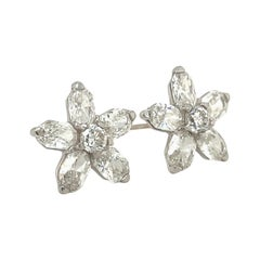 18kt White Gold 2.50ct. Diamond Flower Stud Earrings