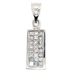18kt White Gold .56 Carat Princess Cut Diamond Pendant