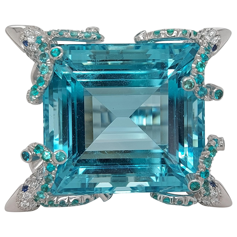 18Kt White Gold 59ct Aquamarine Ring, 4 Dolphins Diamonds & Paraiba Tourmaline