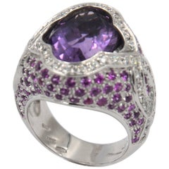 18 Karat White Gold Amethyst, Pink Sapphires and White Diamonds Garavelli Ring