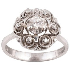 18 Karat White Gold and Diamond Cluster Ring