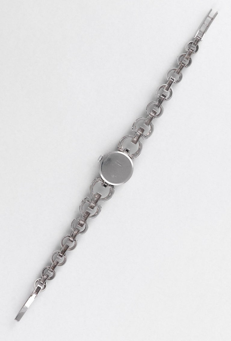 White Gold and Diamond bracelet with swiss cocktail watch Approx. overall length: 165mm