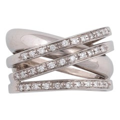 18 Karat White Gold and Diamond Crossover Ring