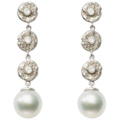 "18kt White Gold and Diamond ""Seaquin"" Dangle Earrings with South Sea Pearl Drops"