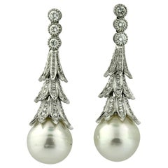 18 Karat White Gold and Diamond South Sea Pearl Earrings