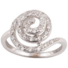 18 Karat White Gold and Diamond Spiral Ring