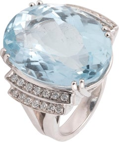 18 Karat White Gold Aquamarine and Diamond Ring