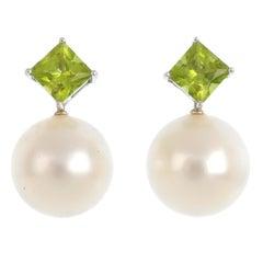 18Kt White Gold Autore South Sea Pearl Diamond Peridot Pendant and Earrings Set