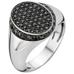 18kt White Gold & Black Diamond Signet Ring