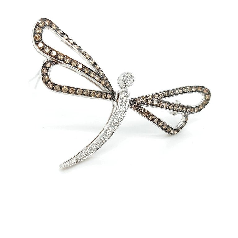 Beautiful  18kt White Gold  Butterfly Brooch With White & Cognac Diamonds  Modern and fine diamond brooch to enjoy on every occasion and make you shine day after day   Diamonds: Brilliant cut white and cognac diamonds = 2,17 ct  Material: solid 18