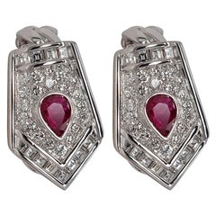 18kt White Gold Clip-On Earrings with Pear Shape Ruby and Diamonds