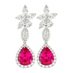 18kt White Gold Cluster Pink Tourmaline and Diamonds Earrings
