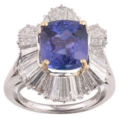 18 Karat White Gold Diamond and Tanzanite Cluster Ring