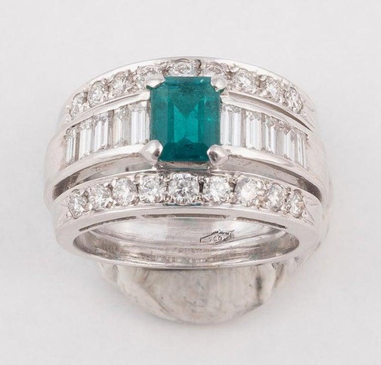 Retro 18 Karat White Gold Diamond Emerald Band Ring For Sale