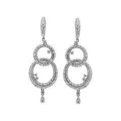 18kt White Gold Double Hoop Drop Earrings with 3.59ct of Diamonds