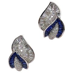 18KT White Gold Double Leaf Earrings with Diamonds & 4.54 Carat Blue Sapphires
